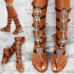 Vinapobo Bohemia Rhinestone Knee High Gladiator Flat Sandals Women Summer Crystal Beach Shoes Women sandalia plus Size 35-43