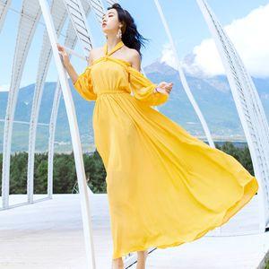 De alta calidad de la serie de la playa vestido amarillo de gasa del hombro del cuello del halter maxi vacaciones viajes de verano vestidos de las mujeres 817