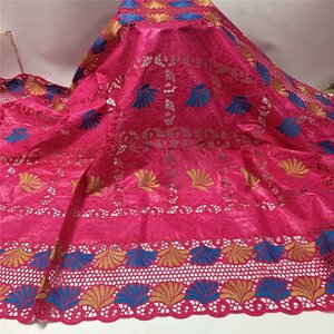 Bazin tela de encaje bordado de la manera tela Riche 2020 Latest de alta calidad Bazin africano con cordón neto 5 yards.12L78152