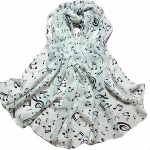 1PC lenço mulheres Senhora da beleza da nota musical xales Chiffon Pescoço Cachecol Xaile silenciador e lenços foulard femme # YL5