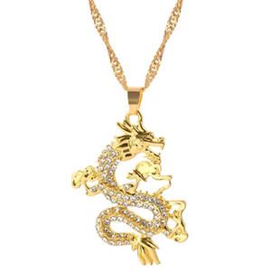 Ожерелья кулон Мода Дракон для женщин Мужчины Золотая Цвет Choker Ожерелье Талисман Орнаменты Счастливого Символ Украшения Подарки