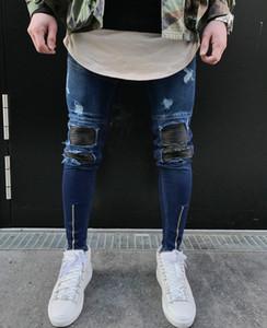 Mens Jeans Hip Hop Motorcycle Biker Mens Jeans Hole on Knee Light Blue Denim Pants Plus Size