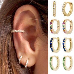 Simple Lovely Girl's Huggies Small Hoops Earrings Skinny Rainbow Boho Classic Diamond Charms Earrings Stud Thin Hoops Gift