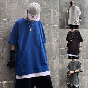 Hommes d'été T-shirt de mode couleur solide T-shirt manches courtes Casual Male Streetwear sauvage desserrées Tops Hip Hop