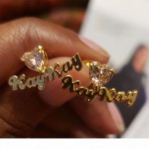 Personalized Earring Name Stud Earrings Grasp Zircon Fashion Custom Name Birthday Stone Women Piercing stud Nameplate Jewelry
