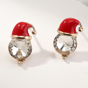 Hot Sale Christmas Hat Shape Stud Earring Fashion Gold Plated Exquisite Christmas Ear Studs for Women Jewelry Gifts Wholesale
