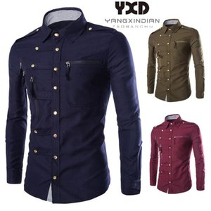 2020 British Style Cotton Mens Shirt New Brand Casual Solid Slim Fit Shirts For Men Fashion Long Sleeve Business Zippers Camisas