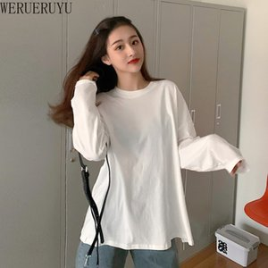 2020 Women White Brief Hem High Elastic T-shirt Long Sleeve Fashion Tide Spring Autumn