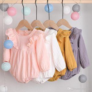 Nuova Primavera Autunno INS infantile delle ragazze dei neonati pagliaccetti Blank increspature delle tute in cotone biologico dal O-collo Newborn Onesies per 0-2T
