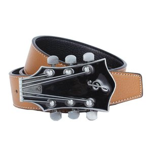 Leather Waist Strap 3D Guitar Buckle Belt Casual Dress Men Women Jeans Waistband