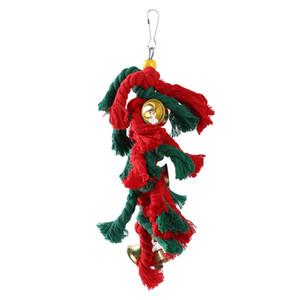Pet Птица Попугай игрушки какаду Попугай Птица Качели Хлопок Веревка Скалолазание Сучка с рождественскими колоколами висячей высокого качества игрушки