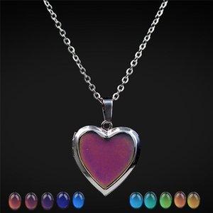 Temperature change color mood necklace love heart Photo locket pendant necklaces maxi statemant charm hip hop jewelry