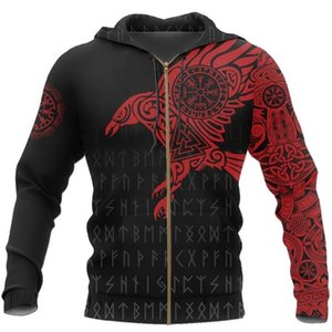 Viking The Raven of Tattoo 3D Printed Men Hoodies Retro Harajuku Fashion Hooded Sweatshirt Autumn Hoody Casual streetwear hoodie 200922