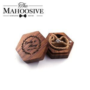 Wood Jewelry Box Ring Bearer Box Personalized Wedding engagement wedding rings Wood Ring Holder Box Rustic Wedding Custom