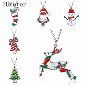 3UMeter Christmas Necklace Enamel Jewelry Print snowman deer socks Christmas tree Pendant Necklace 2020 new year gift
