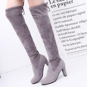 Over-The-Knee Замшевых сапоги для отдыха женского Рима Твердого Большого размера Коренастых пятки Узелок сексуальных дам длинных сапоги ботинки женщина