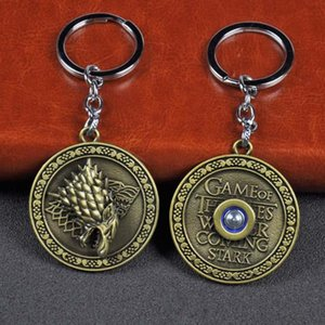 Keychain Rotatable Wolf head Badge Key Chains House Stark of Winterfell Pendant Women And Men Fans Gift keyring