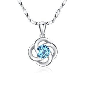 Nouveau style pendentif simple creux chanceux trèfle à quatre feuilles Collier femmes Clavicule Bijoux chaîne