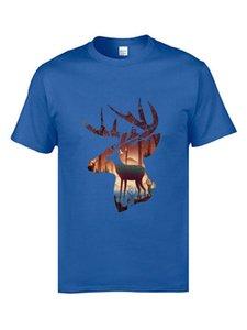 Mistik Hayriye Geyik Elk Siluet T Gömlek Yaz Moda Erkek Pamuk Tee Gömlek Hayvan Stag Tshirts Yeni Yılınız Kutlu Olsun