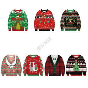 Unisex Weihnachten Hoodies Karikatur Weihnachtsmann Hunde gedruckt Sweatshirts Langarm-Pullover Herbst-Winter-Sweater Weihnachten Kleidung M-2XL D9303