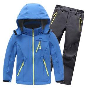 Children Winter Set Waterproof Windproof Kids Fleece Coat Jacket And Pants Suit For Boys Girls Trekking Fishing Camping Dwq595