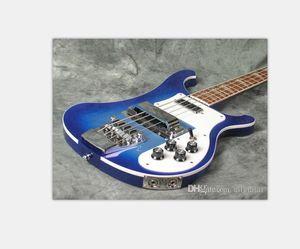 Rare 4003 Trans Blue Bass Two Outputs 4003 ric Transparent blue Electric Bass Guitar Neck Thru Body One PC Neck & Body Dual Output