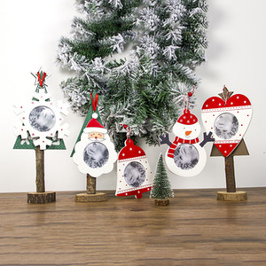 Новогодние украшения для дома DIY Деревянных Висячего Photo Frame Jingle Bell Подвеска Современных Фоторамок Нового года 2021 украшения