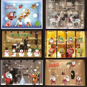 Pegatinas de la ventana de la Feliz Navidad 50 * 70 cm PVC Santa Claus Deer Árbol de Navidad Copo de nieve Ventana de la pared Pegatinas Adornos GWE1911
