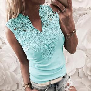 Tank Top Women Solid Lace Sleeveless Patchwork V Neck Shirt Tank Vest Blouse Camiseta Tirantes Mujer Women Tank Top debardeur