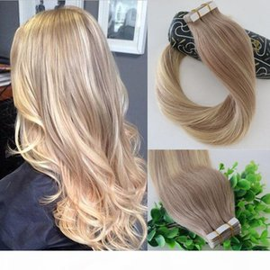 #18 #613 Balayage Ombre Color Ash Blonde Fading to Golden Blonde Brazilian Human Remy Hair Glue Skin Weft 40pcs Tape In Hair Extensions