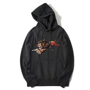 Mens Hoodies Fashion Men Women Stylish Lion Print Hoodies Jacket Mens High Quality Casual Sweatshirts Black S-2XL