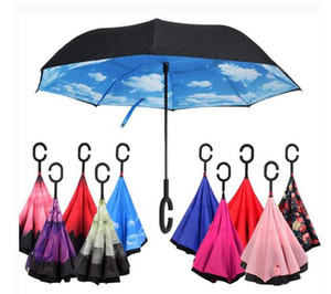 C-Hand Reverse Umbrellas Windproof Reverse Double Layer Inverted Umbrella Inside Out Stand Windproof Umbrella Car Inverted Umbrellas LSK90