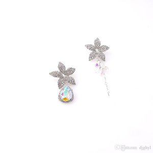 Baroque Vintage Silver Color Five Star Asymmetrical Tassel Long Earrings Women Fashion Jewelry Accessories Gift
