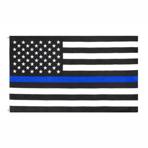 US STOCK direct factory wholesale 3x5Fts 90cmx150cm Law Enforcement Officers USA US American police thin blue line Flag
