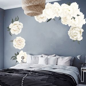 White Peony Beautiful Flowers Wall Stickers for Living Room Wall Decal Baby Nursery Murals Decor Poster Murals