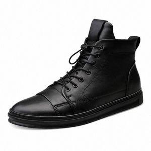 Youki homme Bottes d'hiver en peluche laine fourrure Homme Botte en cuir véritable Chaussures Hommes Big Taille nt1W #