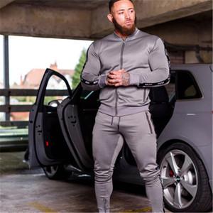2020 Новые Мужчины Устанавливает мода Спортивный костюм Бренд Лоскутная Застежка Толстовка + Спредиторы Мужская Одежда 2 Шт. Устанавливает тонкий трексуи