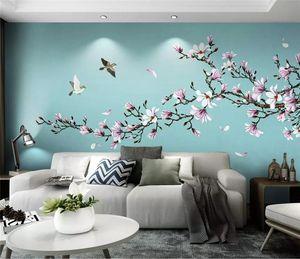 Custom large 3d wallpaper mural living room bedroom magnolia hand painted pen flower bird new Chinese mural