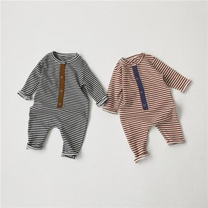 INS Newest Baby Boys Girls Rompers Jumpsuits Stripes Front Buttons Designer Newborn Baby Climb Clothes 0-2T