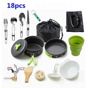 18 PCS Cookware que acampa al aire libre Kit de aleación de aluminio que cocinan el sistema portátil Pan Pot Viajar Senderismo picnic Vajilla Equipamientos VT1636
