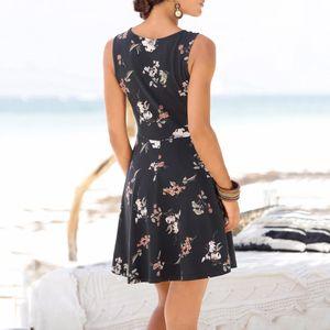 Женская мода без рукавов Цветочных печатей Повседневной Мини-Бич Стиля Sexy Мини платье Подходит для Оживленного vestidos Саншайна