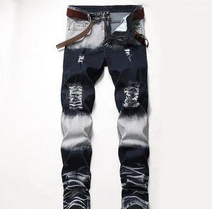Designer Jeans Distrressed Blue White Holes Stretch Regular Mid Waist Straight Mens Pants Fashion Male Apparel Mens