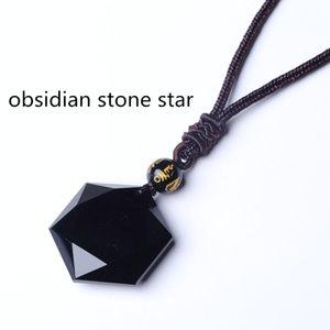 QIANXU Preto Obsidian Six Awn Estrela Pingente Obsidian jóias estrela Obsidian Jade Jóias Fine Jewelry