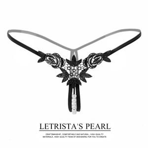Big-marca bordados tridimensionais sexy lingerie pérola senhoras flor solúvel em água tanga low-rise ver-through calças T 2145