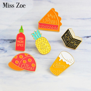 Children's cap pizza Beer READ MORE book Spice Pineapple Enamel pin Fruit Brooch icons Lapel Badge Button pin Gift for kids Girl