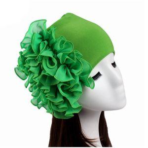 Art und Weise Frauen Turban Hüte Chiffon Blumen Mützen Mützen Turban Bonnet dehnbar Skullies Bandana Haarabdeckung Chemo Caps