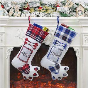 Рождественский чулок Собака Paw с фото Holder Xmas Tree Ornament чулки висит носки Главная Рождественские украшения партии Supplies LJJP507