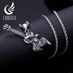 Aço inoxidável Fongten Gothic estilo de guitarra pingente Colar Blacken Punk Homens Long Cadeia Colares Bijuterias