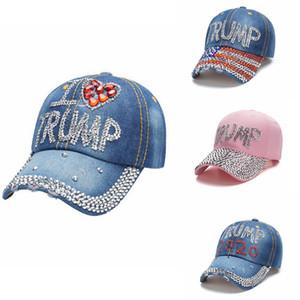 Trump Denim Hat strass Trump Casquette Drapeau rayé Etats-Unis Casquettes Femmes Filles Snapback Président Chapeaux d'extérieur Couvre-chef 4 Designs AHC2129