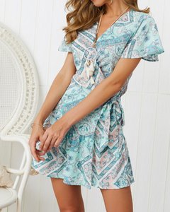 Floral Printed V-neck Sexy Women Dress Summer Designer Beach Holiday Dress Short Sleeved Casual Dress